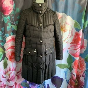 Betsey Johnson Ruffle Accent Quilted Down Coat